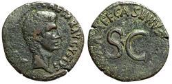 """Ancient Coins - Augustus AE As """"Large SC, Asinius Gallus, Moneyer"""" Rome 16BC RIC 373 aVF"""