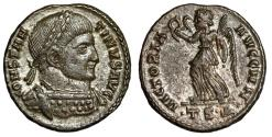 """Ancient Coins - Constantine I The Great Silvered AE3 """"VICTORIA AVGG Victory"""" Thessalonica  EF"""