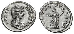 """Ancient Coins - Julia Domna AR Denarius """"PIETAS PVBLICA Pietas, Hands Raised"""" RIC 574 EF"""