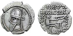 """Ancient Coins - King of Parthia: Vologases VI AR Drachm """"Pointed Beard Bust & Arsakes Archer"""" EF"""