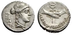 """Ancient Coins - Albinus Bruti F AR Denarius """"Pietas & Two Clasped hands. Winged Caduceus"""" EF"""