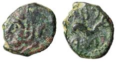 "Ancient Coins - Spain, Gades AE Quadrans ""Herakles & Dolphin Swimming, Punic Legend"" gF"