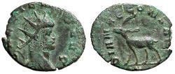 "Ancient Coins - Gallienus Zoo Series Antoninianus ""DIANAE CONS AVG Stag Left"" Rome RIC 179 VF"