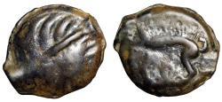"Ancient Coins - Northwest Gaul, The Leuci AE18 ""Diademed Head Left & Boar, Ornament"" gF"