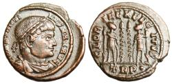 """Ancient Coins - Constantine I The Great AE3 """"GLORIA EXERCITVS Roman Soldiers"""" Trier RIC 525 gVF"""