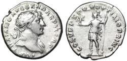 "Ancient Coins - Trajan AR Denarius ""Roma Standing Facing, Victory"" RIC 115 Good Fine"