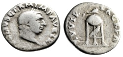 """Ancient Coins - Vitellius Silver Denarius """"XV VIR SACR FAC Tripod, Raven & Dolphin"""" RIC 109 69 AD"""