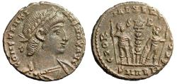 "Ancient Coins - Constantine II AE15 ""GLORIA EXERCITVS Soldiers S-R"" Alexandria Second Officina"