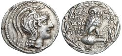 "Ancient Coins - Attica, Athens New Style Tetradrachm ""Athena & Owl, Artemis With Torch"" aEF"