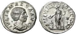 """Ancient Coins - Julia Maesa (Grandmother of Elagabalus) AR Denarius """"Portrait & Felicitas"""" nEF"""