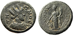 """Ancient Coins - Aeolis, Temnos Pseudo-Autonomous Issue """"Turreted Tyche & Standing"""" aVF"""