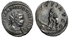 "Ancient Coins - Maximianus AE Antoninianus ""VIRTVTI AVGG Hercules Fighting Nemean Lion"" nEF"