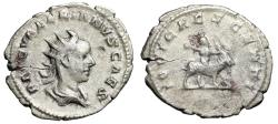 "Ancient Coins - Valerian II AR Antoninainus ""IOVI CRESCENTI Child Jupiter on Goat"" Rome RIC 13"