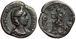 """Ancient Coins - Otacilia Severa (Wife of Philip I) AE Sestertius """"Pudicitia Seated"""" RIC 209a VF"""