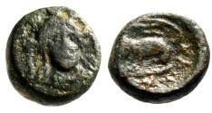 """Ancient Coins - Euboea, Chalcis (Chalkis) AE11 """"Hera Facing & Eagle, Serpent"""" Fine"""