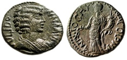 "Ancient Coins - Julia Domna AE22 ""FORTVNA COLONIA Tyche, Branch"" Pisidia Antioch EF"