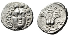 "Ancient Coins - Caria, Rhodes (Rhodos) Silver Drachm ""Facing Helios & Rose"" Gorgos Choice EF"