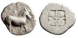 "Ancient Coins - King of Macedonia: Alexander I AR Obol ""Horse Standing & Quadripartite"" Rare"