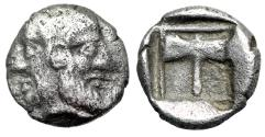 """Ancient Coins - Islands of Troas, Tenedos AR Obol """"Janiform Female & Male / Labyrs (Axe)"""""""