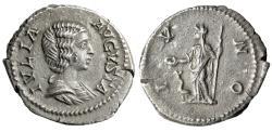 """Ancient Coins - Julia Domna (Wife of Septimius Severus) AR Denarius """"Juno"""" RIC 559 aEF"""
