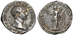 "Ancient Coins - Trajan AR Denarius ""Portrait & Victory"" 103-111 AD RIC 128 gVF Beautiful Tone"