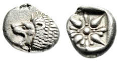 "Ancient Coins - Ionia, Miletos Silver Diobol ""Forepart Lion & Stellate Pattern"" 6th Cent BC aEF"