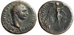 "Ancient Coins - Domitian as Caesar AE As ""VICTORIA AVGVST Victory on Prow"" Under Titus RIC 286"