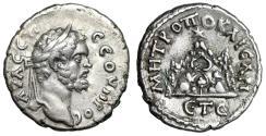 """Ancient Coins - Septimius Severus AR Drachm """"Mount Argaeus, Star"""" Year 5 Caesarea gVF"""