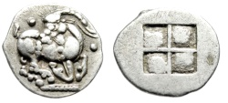 "Ancient Coins - Thraco-Macedonian Tribes, Mygdones or Krestones AR Diobol ""Kneeling Goat"" EF"