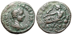 "Ancient Coins - Saloninus AE20 ""River Deity Kaystros Recumbant"" Ionia, Ephesos Rare"