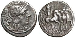 "Ancient Coins - M Vargunteius AR Denarius ""Helmeted Roma & Jupiter Driving Quadriga"" Good Fine"