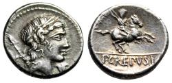 """Ancient Coins - Pub. Crepusius AR Denarius """"Apollo & Horseman"""" Rome 82 BC Good VF Old Cabinet"""