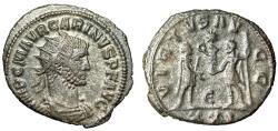 """Ancient Coins - Carinus Silvered Antoninianus """"VIRTVS AVGG Emperor & Jupiter"""" Antioch RIC 325 VF"""