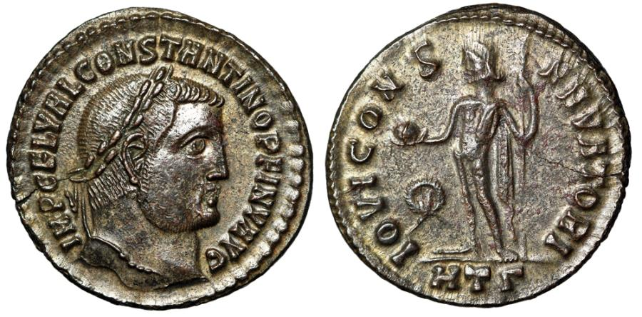 """Ancient Coins - Constantine I The Great Silvered Follis """"CONSTANTINO PF INV AVG"""" Heraclea Rare"""