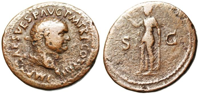"Ancient Coins - Titus AE As ""Spes With Flower"" Rome RIC 237"