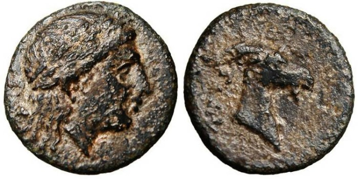 "Ancient Coins - Aeolis, Aigai AE 17 ""Apollo & Goat's Head"" BMC 7"