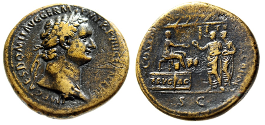 """Ancient Coins - Domitian Sestertius """"FRVG AC Platform, Citizens, Temple"""" Secular Games RIC 607 Rare VF"""