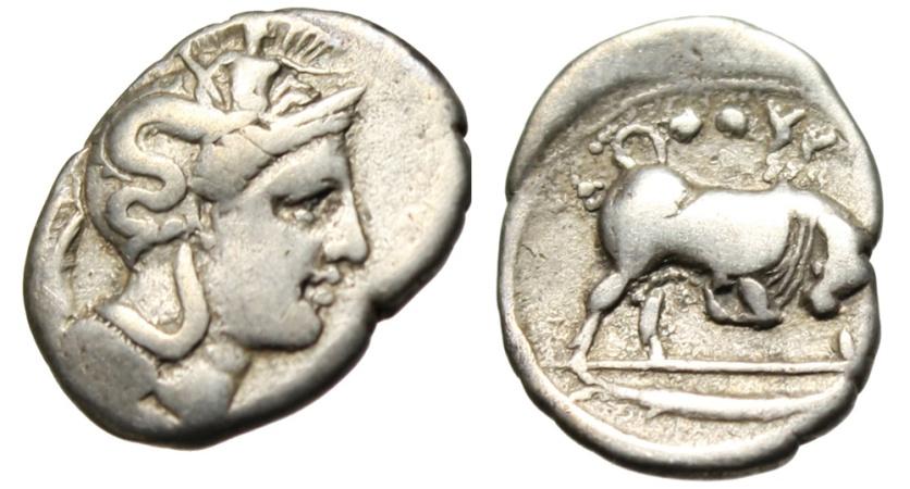 "Ancient Coins - Lucania, Thourioi (Thurium) Silver Diobol ""Athena & Bull Butting, Tunny Fish"""