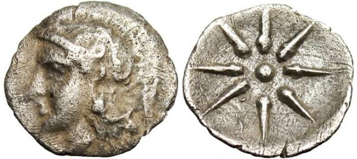 "Ancient Coins - Crete, Itanos AR Obol ""Athena & Star of Eight Rays"" Rare"