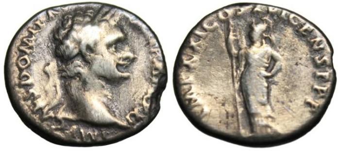 """Ancient Coins - Domitian AR Denarius """"Minerva"""" Rome RIC 733"""