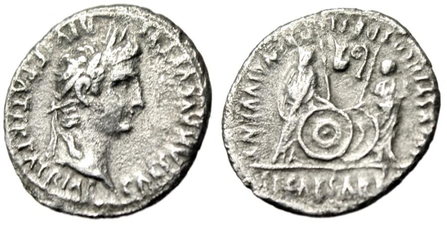 "Ancient Coins - Augustus Silver Denarius ""Sons Caius & Lucius"" Rome 2BC-5AD RIC 208 Dynastic"