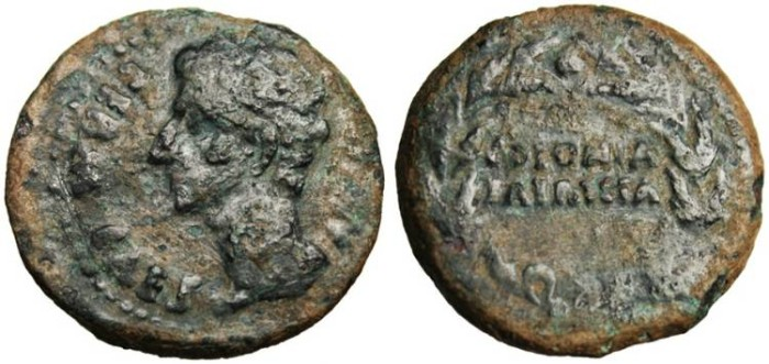 "Ancient Coins - Augustus AE As ""Ethnic in Wreath"" Spain, Colonia Patricia VF"