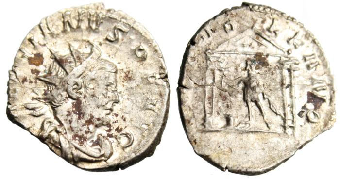 """Ancient Coins - Valerian I Silver AR Ant. """"DEO VOLKANO Vulcan in Temple"""" RIC 5 VF"""