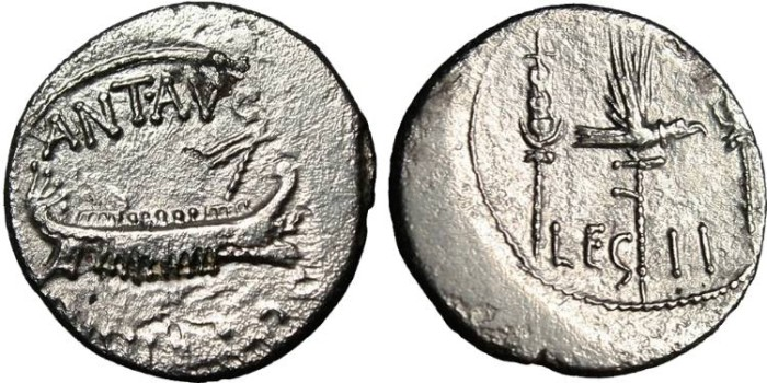 "Ancient Coins - Marc Antony Legionary AR Denarius ""Legion II"" VF"