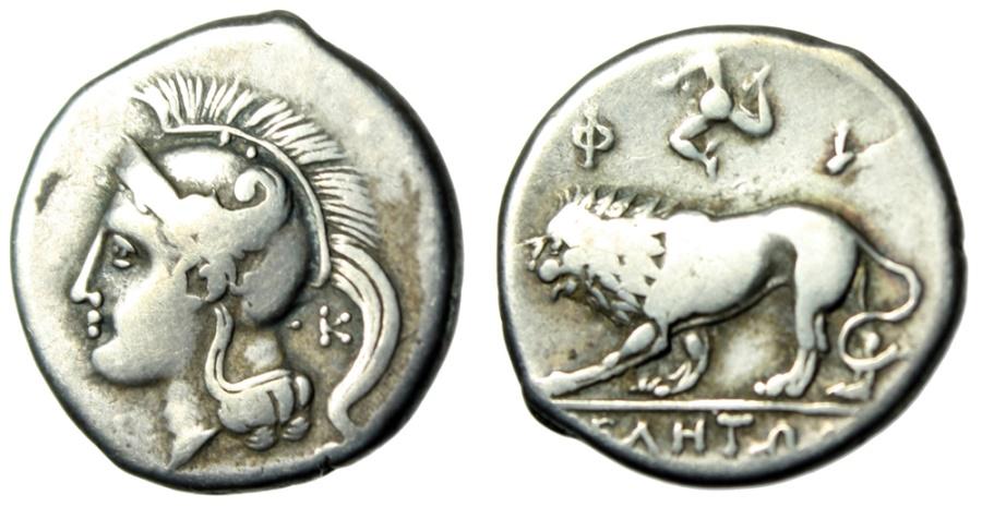 """Ancient Coins - Lucania, Velia Silver Nomos """"Athena & Lion, Triskeles"""" 300-280 BC Rare nVF"""