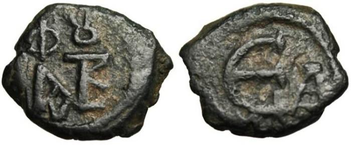 "Ancient Coins - Justin II AE Pentanummium ""Monogram & Large E, 1st Officina"" Constantinople VF"