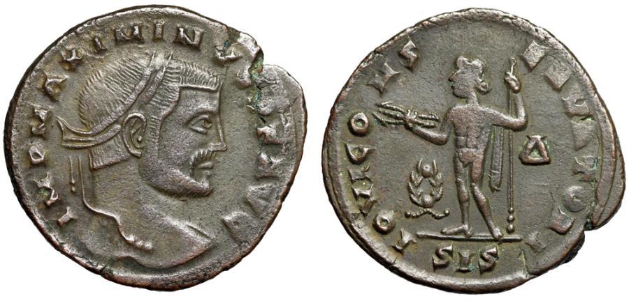 """Ancient Coins - Maximinus II Daia AE Follis """"Jupiter, Large Wreath Beside"""" Siscia RIC 227b VF"""
