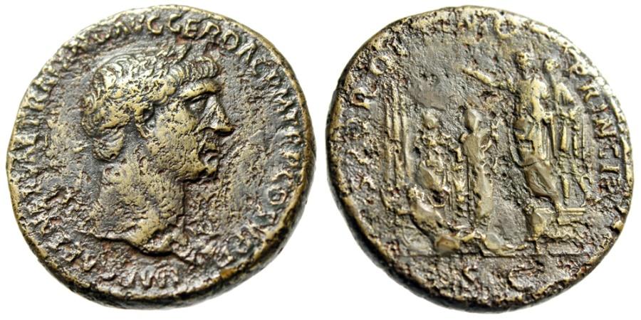 "Ancient Coins - Trajan AE Sestertius ""Trajan, Citizens, Genius of Circus Reclining"" RIC 553 Very Rare"