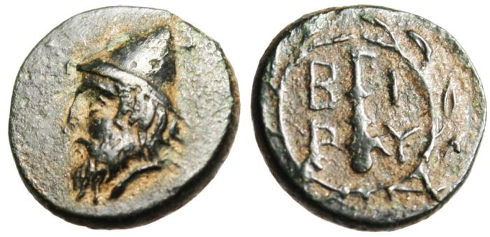 "Ancient Coins - Troas, Birytis AE12 ""Kabeiros & Club"" EF Choice"