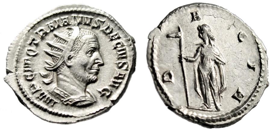 "Ancient Coins - Trajan Decius AR Antoninianus ""Dacia"" Rome RIC 12b Incredible Portrait EF"